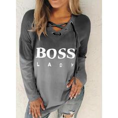 Print Figure Gradient V-Neck Long Sleeves Sweatshirt