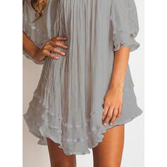 Solid 1/2 Sleeves/Cold Shoulder Sleeve Shift Above Knee Little Black/Casual/Elegant Dresses