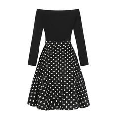 PolkaDot/Patchwork Long Sleeves A-line Knee Length Vintage/Casual/Party Dresses