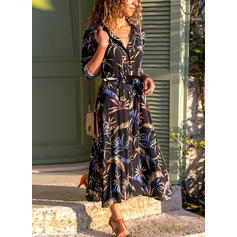 Print/Floral 1/2 Sleeves/Long Sleeves A-line Midi/Maxi Casual Dresses