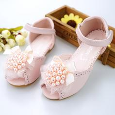 Girl's Microfiber Leather Flat Heel Peep Toe Sandals Flower Girl Shoes With Beading Bowknot Velcro