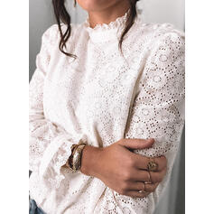 Solid Lace Stand collar Long Sleeves Elegant Blouses