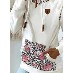 Imprimeu Floral leopard buzunare Mâneci Lungi Hanorac