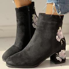 Femmes Suède Talon bottier Bottines avec Une fleur chaussures