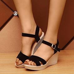 Donna PU Zeppe Sandalo Piattaforma Zeppe con Fibbia Cava-out scarpe