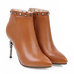 Frauen PU Stöckel Absatz Absatzschuhe Geschlossene Zehe Stiefel Stiefelette mit Niete Reißverschluss Schuhe