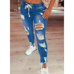 Plus Size Ripped Drawstring Sexy Vintage Denim & Jeans