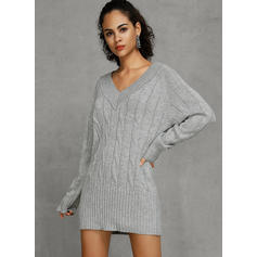 Solid V-Neck Tight Sexy Sweater Dress