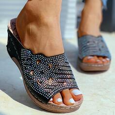 Femmes PU Talon compensé Sandales Chaussons avec Strass Ouvertes chaussures