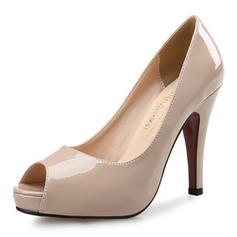 Kvinnor Lackskinn Stilettklack Sandaler Pumps Plattform Peep Toe skor
