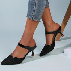 Vrouwen Doek Mesh Kitten Hak Sandalen Pumps Closed Toe Slippers Puntige teen met Hol-out Effen kleur schoenen