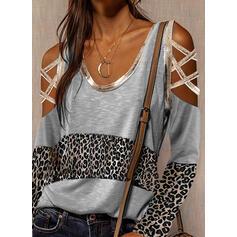 Color block Leopard Kold skulder Lange ærmer Casual Skjorter