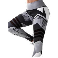 estampado geométrico Largo Largo Flaco Deportivo Impresión Yoga Polainas