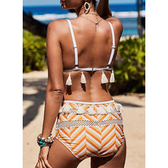 Floral Stripe Strap Beautiful Bohemian Bikinis Swimsuits