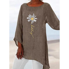 Sunflower Print Round Neck Long Sleeves Casual Blouses