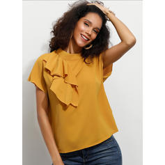 Solid Stand-up Collar Short Sleeves Casual Elegant Blouses
