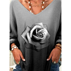 Floral Gradient Print V-Neck Long Sleeves T-shirts