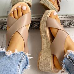 Frauen PU Keil Absatz Sandalen Keile Peep Toe mit Schnalle Schuhe