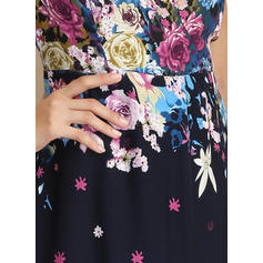 Print/Floral Short Sleeves A-line Maxi Casual Dresses