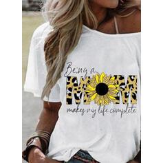 Estampado Impressão do girassol Um Ombro Manga Curta Casual Camisetas