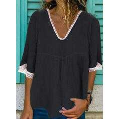 Solid Lace V-Neck 1/2 Sleeves Casual Blouses