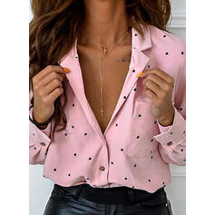 Print PolkaDot Lapel Long Sleeves Button Up Casual Shirt Blouses