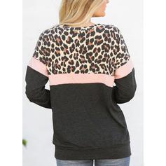 Barevný blok Zvířecí potisk Kulatý Výstřih Dlouhé rukávy Neformální Bluze