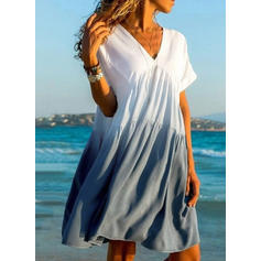 Color Block/Tie Dye Short Sleeves A-line Knee Length Casual/Vacation Dresses