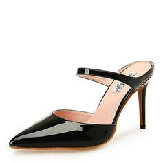 Women's Patent Leather Stiletto Heel Sandals Pumps Closed Toe shoes