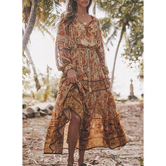 Print Long Sleeves/Lantern Sleeve A-line Casual/Boho/Vacation Midi Dresses