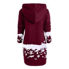 Animal Print Long Sleeves Sheath Above Knee Christmas/Casual Sweatshirt Dresses