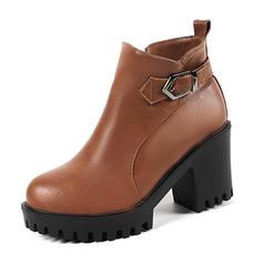Dla kobiet Skóra ekologiczna Obcas Stiletto Czólenka Zakryte Palce Kozaki Botki Z Klamra Zamek błyskawiczny obuwie