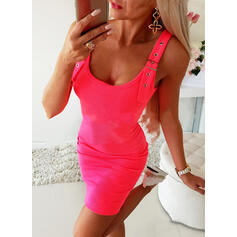 Solid Sleeveless Bodycon Above Knee Little Black/Casual Dresses