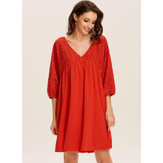 Lace/Solid Long Sleeves Shift Knee Length Casual/Elegant Tunic Dresses
