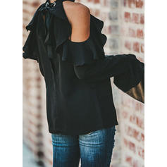 Solid Cold Shoulder Flare Sleeve Long Sleeves Casual Elegant Knit Blouses