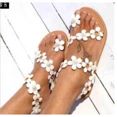 Women's Leatherette Flat Heel Sandals Flats Peep Toe Slingbacks With Applique Flower shoes