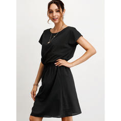 Solid Short Sleeves A-line Knee Length Little Black/Casual/Elegant Dresses