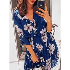 Print 1/2 Sleeves A-line Knee Length Casual Skater Dresses