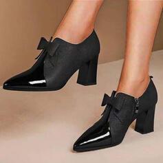Femmes PU Talon bottier Escarpins Talons avec Bowknot Couleur unie chaussures
