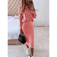 Print Long Sleeves Sheath Casual Midi Dresses