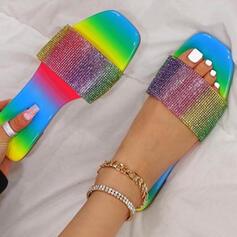 Dla kobiet PU Płaski Obcas Sandały Plaskie Otwarty Nosek Buta Kapcie Z Tkanina Wypalana Kolor splotu obuwie