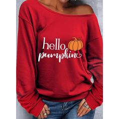 Halloween Tisk Písmena Jedno rameno Dlouhé rukávy Hanorac