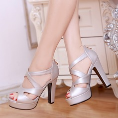 Women's Leatherette Stiletto Heel Sandals Pumps Peep Toe With Zipper shoes
