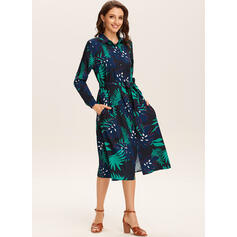 Print/Floral Long Sleeves A-line Shirt/Skater Casual/Vacation Midi Dresses