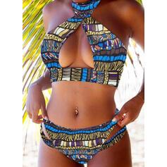 Coloré Imprimé Dos Nu Vintage Bikinis Maillots De Bain