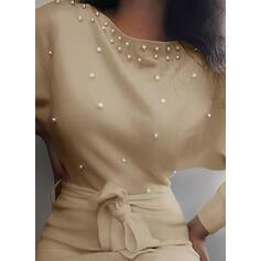 Solid/Beaded Long Sleeves Bodycon Above Knee Elegant Dresses