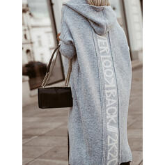 Print Pocket Hooded Casual Cardigan
