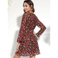 Nadrukowana/Kwiatowy Długie rękawy W kształcie litery A Nad kolana Casual/Elegancki Sukienki