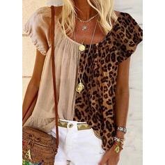 leopard Kulatý Výstřih Krátké rukávy Casual Bluze