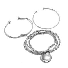 Layered Knot Alloy Beads With Coin Women's Bracelets 3 PCS